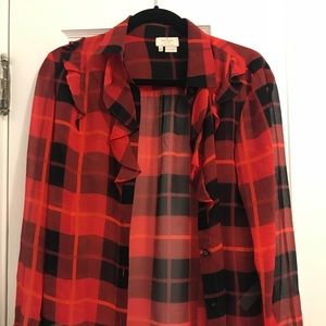 Kate Spade plaid silk button-up blouse
